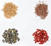 Goji berries, oats, linseed, pumpkinseed. Healthy superfoods Royalty Free Stock Images