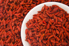 Goji Berries in a plate Stock Photos