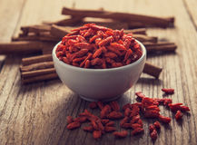 Goji berries on table Stock Image