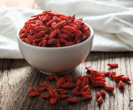 Goji berries on table Stock Photos