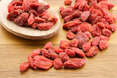 Goji berries. On wooden background Royalty Free Stock Photo