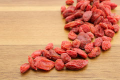 Goji berries. On wooden background Stock Images