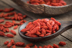 Goji berries on wooden spoon Royalty Free Stock Photo