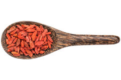 Goji berries on wooden spoon Royalty Free Stock Photos