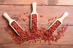 Goji berries in wooden spoon Royalty Free Stock Photo