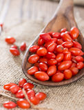 Goji Berries on a wooden spoon Royalty Free Stock Photography