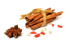 Goji berry & cinnamon Royalty Free Stock Photography