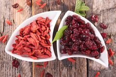Goji berry and cranberry Stock Photography
