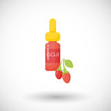 Goji berry oil  flat icon. Flat design of superfood or healthy eating object with round shadow isolated on the white background, cute  illustration with Stock Photo