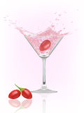 Goji berry splash. Glass with water and cranberry.  illustration Stock Photo