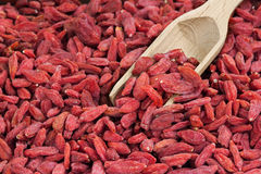 Goji berry with wood scoop Stock Images