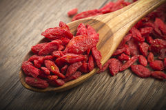 Goji berry. Wooden Spoon with Group of Goji berry Royalty Free Stock Photography