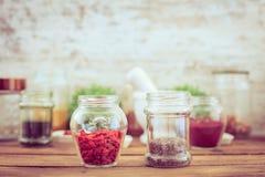 Goji and chia seeds (superfood) Stock Image