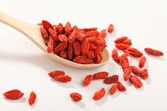 Goji dried fruits in a wooden spoon Royalty Free Stock Images
