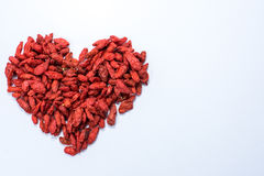 Goji. Dry on awhite background royalty free stock images