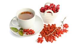 Goji fresh antioxidant tea. On white background Royalty Free Stock Photography