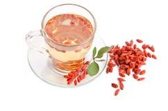 Goji fresh antioxidant tea. On white background Stock Photo