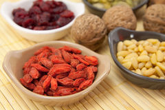 Goji Fruits. And other healthy fruits and nuts Royalty Free Stock Photos
