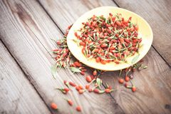 Goji fruits on wooden background Stock Images