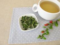 Goji leaves tea stock image