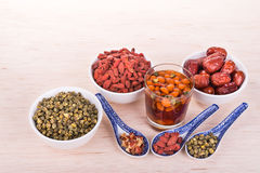 Goji Wolfberry, Chrysanthemum, Red Dates tea remedy to improve e. Goji berries or Wolfberry, Chrysanthemum, and Red Dates tea is traditional remedy to improve Royalty Free Stock Image