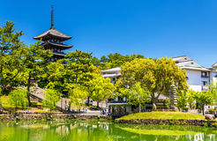 Goju-no-to five-storied pagoda above Sarusawa-ike Pond in Nara. Japan Stock Images