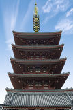 The Goju-no-to five-storied pagoda at Sensoji Temple, Asakusa District, Tokyo, Japan. The Oldest Buddhist Temple of Royalty Free Stock Image