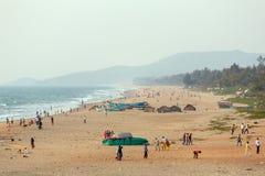Gokarna海滩鸟瞰图在卡纳塔克邦,印度 免版税库存图片