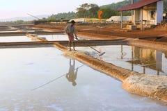 GOKARNA,INDIA - Feb 27: Salt plantation near Gokarna, India Royalty Free Stock Images