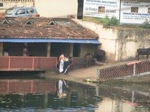 Gokarna India straten van de oude Indische stad Royalty-vrije Stock Afbeelding
