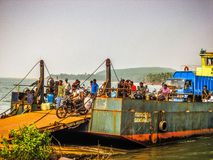 Colors of India. Gokarna Karnataka India December 13, 2017 View of unknowns people traveling in the ferry to Karwar in southern India stock photography