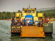 Colors of India. Gokarna Karnataka India December 13, 2017 View of unknowns people traveling in the ferry to Karwar in southern India royalty free stock photography