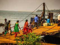 Colors of India. Gokarna Karnataka India December 13, 2017 View of unknowns people traveling in the ferry to Karwar in southern India stock photo