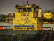 Colors of India. Gokarna Karnataka India December 13, 2017 View of unknowns people traveling in the ferry to Karwar in southern India stock image