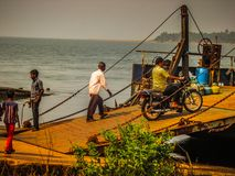 Colors of India. Gokarna Karnataka India December 13, 2017 View of unknowns people traveling in the ferry to Karwar in southern India stock images