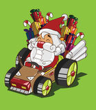 Gokart驯鹿样式。圣诞老人交付礼物 库存图片