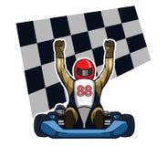 Gokart Winning Racer. Vector illustration for go kart race theme Royalty Free Stock Photography