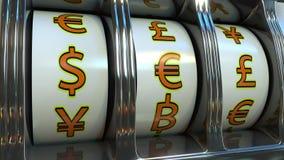 Gokautomaat met verschillende muntensymbolen - dollar, euro, pond Forex, fortuin of investeerders` s gelukconcepten 3d Royalty-vrije Stock Foto's