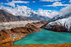 Gokio valley from the slopes of Mount Gokyo Ri Royalty Free Stock Photo