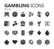 Gokkend Geplaatste Pictogrammen Kaart en casino, pookspel Vector illustratie Stock Afbeeldingen