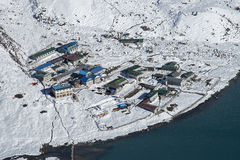 Gokyo村庄的看法  库存图片