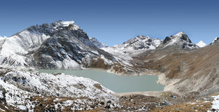 Gokyo Fifth Lake - Ngozumba Tsho. This is Gokyo's fifth lake locally known as Ngozumba Tsho. From here there are incredible views of Everest, Cho Oyo, etc Stock Photo