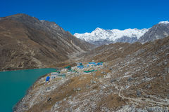 Gokyo lake and Gokyo village Royalty Free Stock Photo