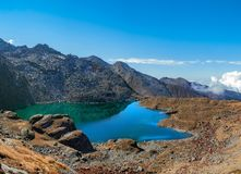 Gokyo lake panorama stock image