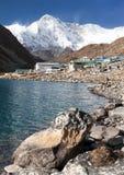 Gokyo lake and village with mount Cho Oyu Stock Photos