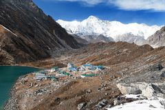 Gokyo lake and village with mount Cho Oyu Royalty Free Stock Image