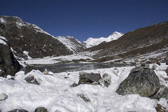 Gokyo valley. In himalayas in nepal Royalty Free Stock Photos