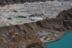 Gokyo village, moraine and glacier lakes Stock Photography