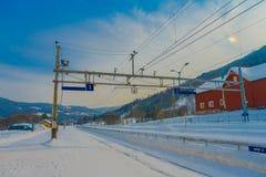 GOL, NORWAR, 2018年4月, 02日:铁路缆绳线华美的室外看法用于火车运输的在城市 库存照片