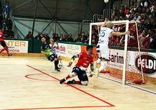 Gol de Futsal Imagen de archivo libre de regalías